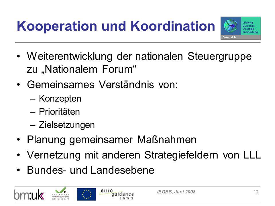 """IBOBB, Juni 200812 Kooperation und Koordination Weiterentwicklung der nationalen Steuergruppe zu """"Nationalem Forum Gemeinsames Verständnis von: –Konzepten –Prioritäten –Zielsetzungen Planung gemeinsamer Maßnahmen Vernetzung mit anderen Strategiefeldern von LLL Bundes- und Landesebene"""