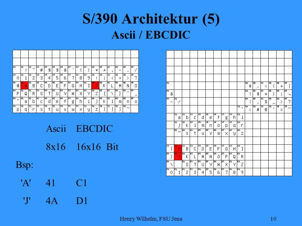 Henry Wilhelm, FSU Jena10 S/390 Architektur (5) Ascii / EBCDIC AsciiEBCDIC 8x1616x16Bit Bsp: A 41C1 J 4AD1