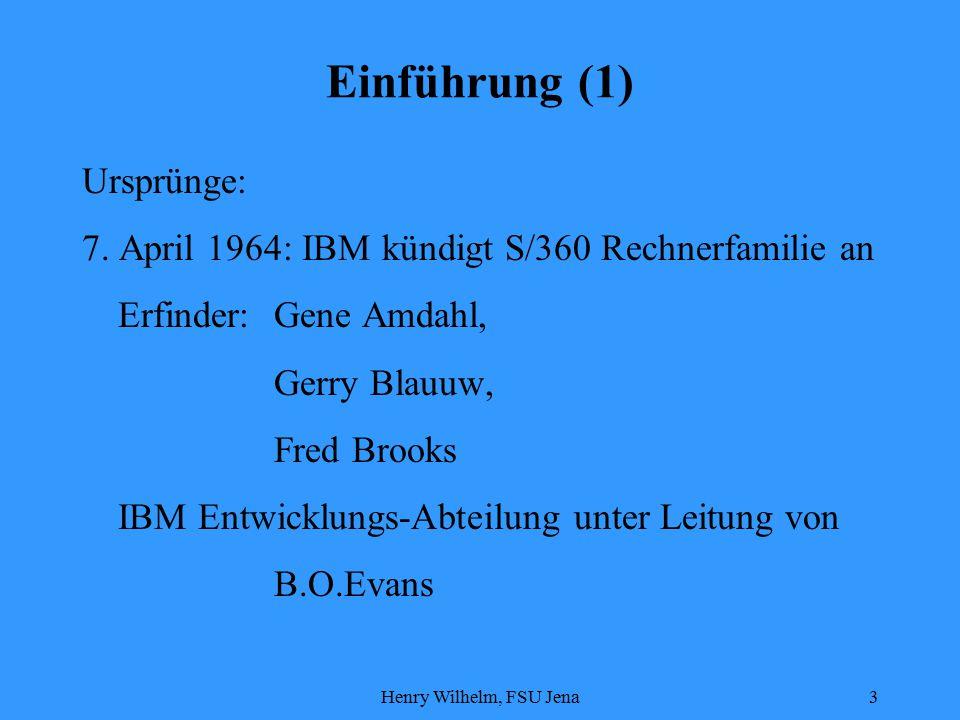 Henry Wilhelm, FSU Jena14 S/390 Architektur (9) Speicherschutz Aufteilung des Hauptspeichers in 4096 Byte große Blöcke  Zuordung von 4 Bit Schlüssel im Program Status Word  Bei jedem Speicherzugriff wird aus einem Schnellspeicher dieser Schlüssel ausgelesen und mit 4 Bit Feld verglichen