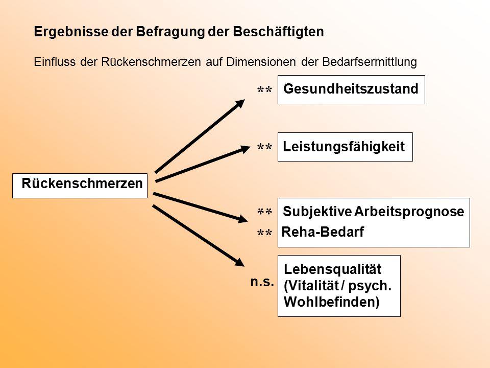 Ergebnisse der Befragung der Beschäftigten Einfluss der Rückenschmerzen auf Dimensionen der Bedarfsermittlung Rückenschmerzen Gesundheitszustand ** Leistungsfähigkeit ** Subjektive Arbeitsprognose Reha-Bedarf ** Lebensqualität (Vitalität / psych.
