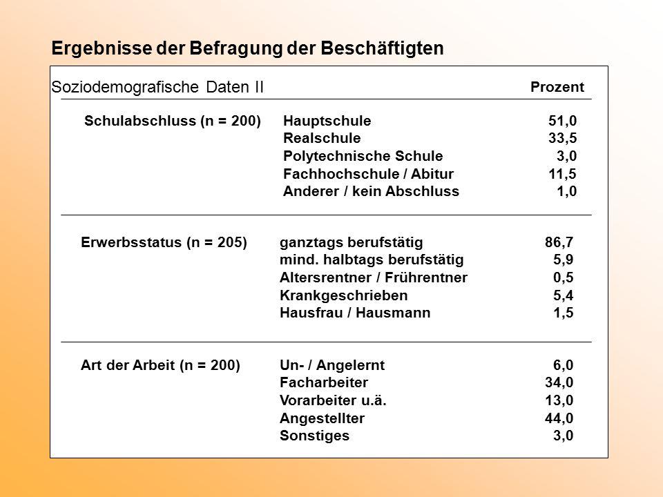 Prozent Ergebnisse der Befragung der Beschäftigten Soziodemografische Daten II Schulabschluss (n = 200)Hauptschule51,0 Realschule33,5 Polytechnische S