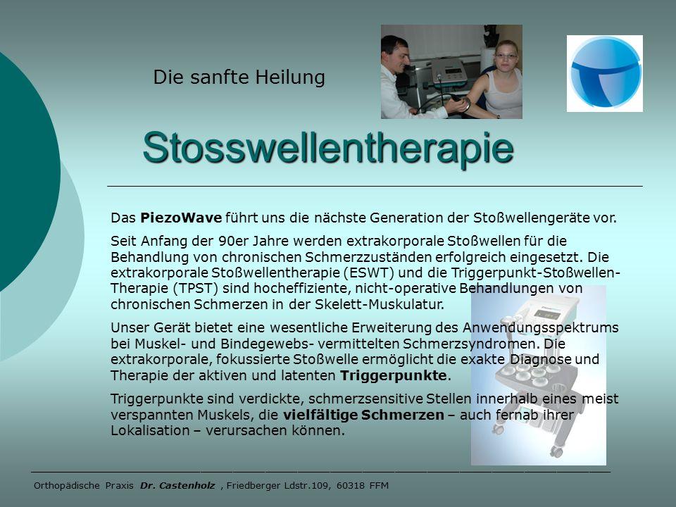 Stosswellentherapie Stosswellentherapie Die sanfte Heilung ______________________________________________________ Orthopädische Praxis Dr.