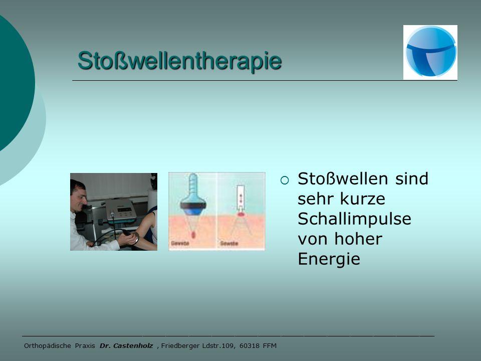 Stoßwellentherapie  Stoßwellen sind sehr kurze Schallimpulse von hoher Energie ______________________________________________________ Orthopädische Praxis Dr.