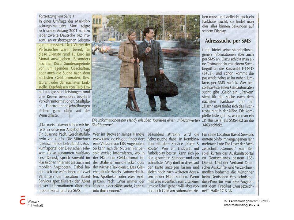Wissensmanagement SS 2006 Informationslogistik - 34 Worzyk FH Anhalt