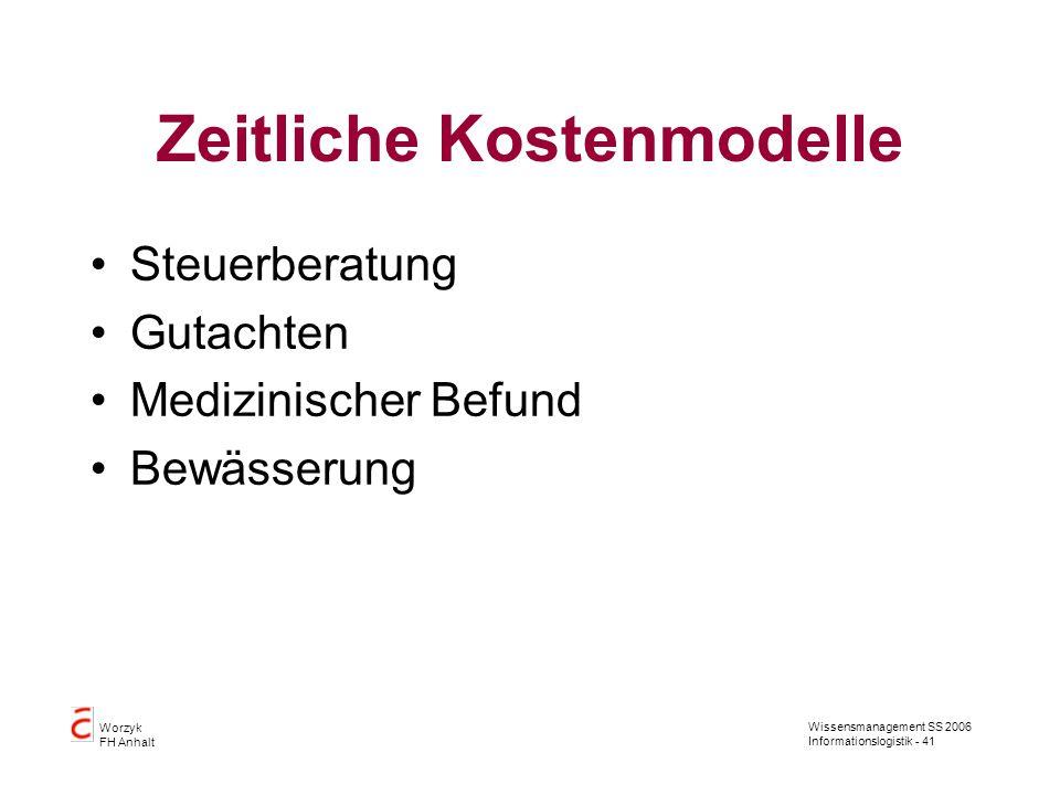 Wissensmanagement SS 2006 Informationslogistik - 41 Worzyk FH Anhalt Zeitliche Kostenmodelle Steuerberatung Gutachten Medizinischer Befund Bewässerung