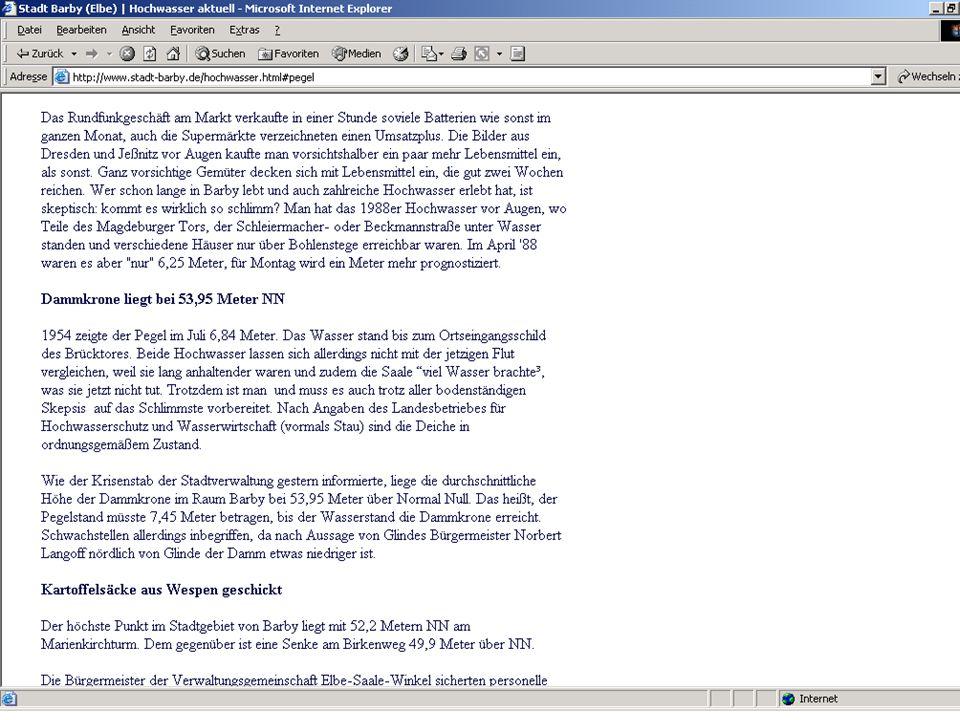 Wissensmanagement SS 2006 Informationslogistik - 26 Worzyk FH Anhalt bedarfsgerechte Nachrichten Beispiel MDR