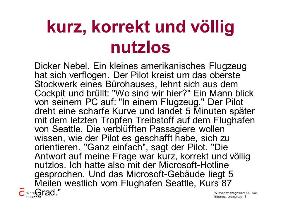 Wissensmanagement SS 2006 Informationslogistik - 8 Worzyk FH Anhalt kurz, korrekt und völlig nutzlos Dicker Nebel.