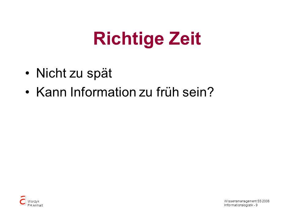 Wissensmanagement SS 2006 Informationslogistik - 9 Worzyk FH Anhalt Richtige Zeit Nicht zu spät Kann Information zu früh sein?