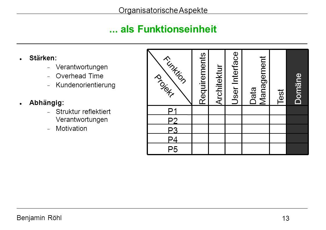 Benjamin Röhl 13 Organisatorische Aspekte... als Funktionseinheit Projekt Funktion P1 P2 P3 P4 P5 Requirements Architektur User Interface Data Managem