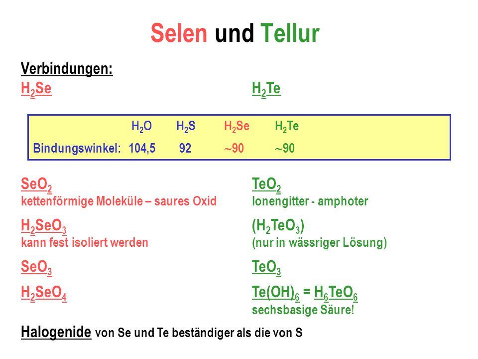 Selen und Tellur Verbindungen: H 2 Se SeO 2 kettenförmige Moleküle – saures Oxid H 2 SeO 3 kann fest isoliert werden SeO 3 H 2 SeO 4 H 2 Te TeO 2 Ionengitter - amphoter (H 2 TeO 3 ) (nur in wässriger Lösung) TeO 3 Te(OH) 6 = H 6 TeO 6 sechsbasige Säure.