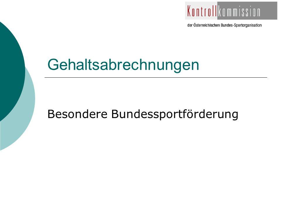 Gehaltsabrechnungen Besondere Bundessportförderung