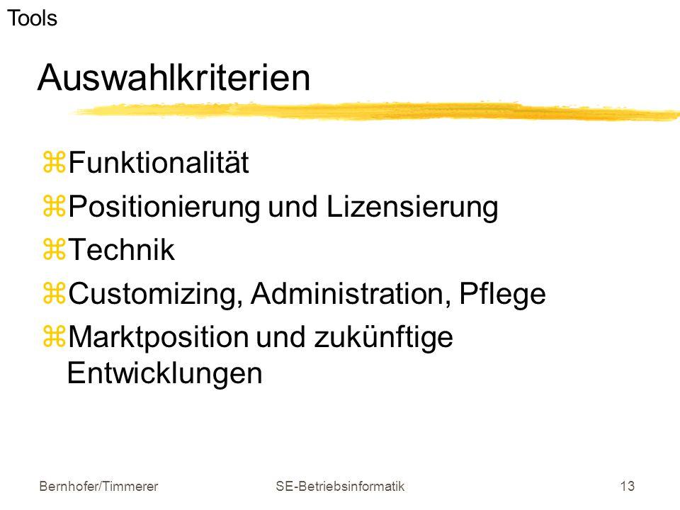 Bernhofer/TimmererSE-Betriebsinformatik13 Auswahlkriterien  Funktionalität  Positionierung und Lizensierung  Technik  Customizing, Administration,