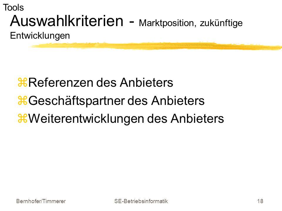 Bernhofer/TimmererSE-Betriebsinformatik18 Auswahlkriterien - Marktposition, zukünftige Entwicklungen  Referenzen des Anbieters  Geschäftspartner des