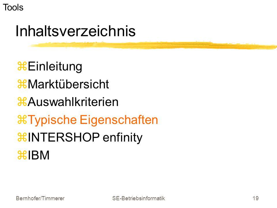 Bernhofer/TimmererSE-Betriebsinformatik19 Inhaltsverzeichnis  Einleitung  Marktübersicht  Auswahlkriterien  Typische Eigenschaften  INTERSHOP enf