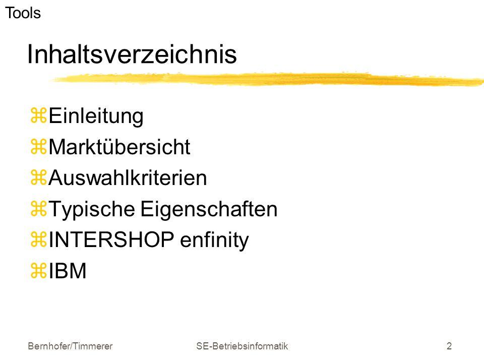 Bernhofer/TimmererSE-Betriebsinformatik2 Inhaltsverzeichnis  Einleitung  Marktübersicht  Auswahlkriterien  Typische Eigenschaften  INTERSHOP enfi