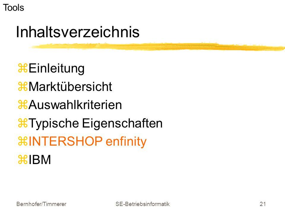 Bernhofer/TimmererSE-Betriebsinformatik21 Inhaltsverzeichnis  Einleitung  Marktübersicht  Auswahlkriterien  Typische Eigenschaften  INTERSHOP enf
