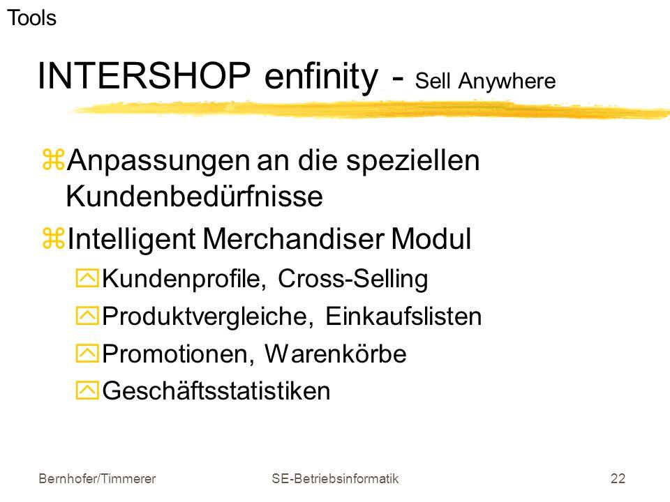 Bernhofer/TimmererSE-Betriebsinformatik22 INTERSHOP enfinity - Sell Anywhere  Anpassungen an die speziellen Kundenbedürfnisse  Intelligent Merchandi