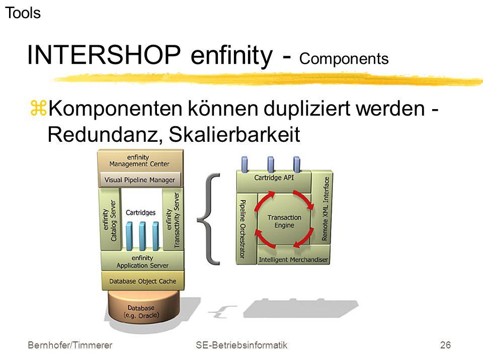 Bernhofer/TimmererSE-Betriebsinformatik26 INTERSHOP enfinity - Components  Komponenten können dupliziert werden - Redundanz, Skalierbarkeit e-busines