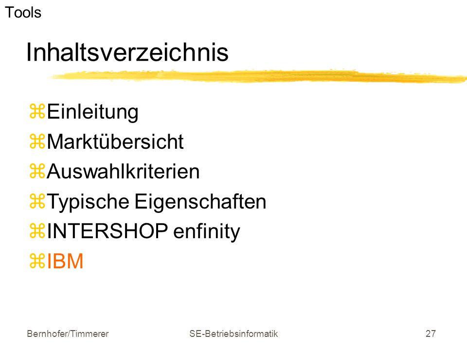 Bernhofer/TimmererSE-Betriebsinformatik27 Inhaltsverzeichnis  Einleitung  Marktübersicht  Auswahlkriterien  Typische Eigenschaften  INTERSHOP enf