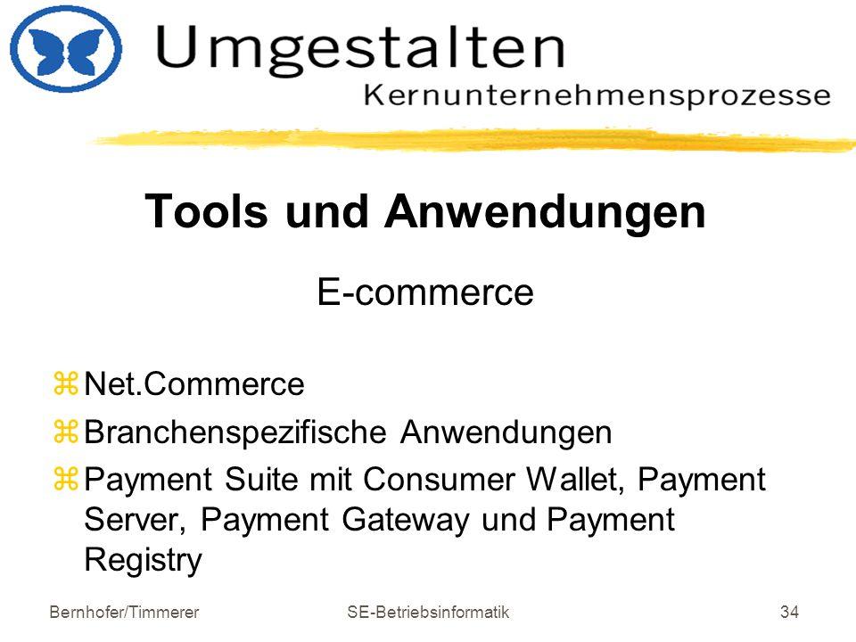 Bernhofer/TimmererSE-Betriebsinformatik34 Tools und Anwendungen E-commerce  Net.Commerce  Branchenspezifische Anwendungen  Payment Suite mit Consum