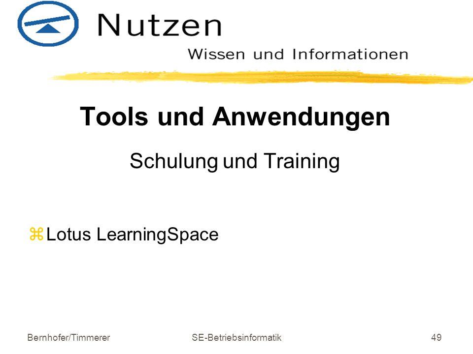 Bernhofer/TimmererSE-Betriebsinformatik49 Tools und Anwendungen Schulung und Training z Lotus LearningSpace