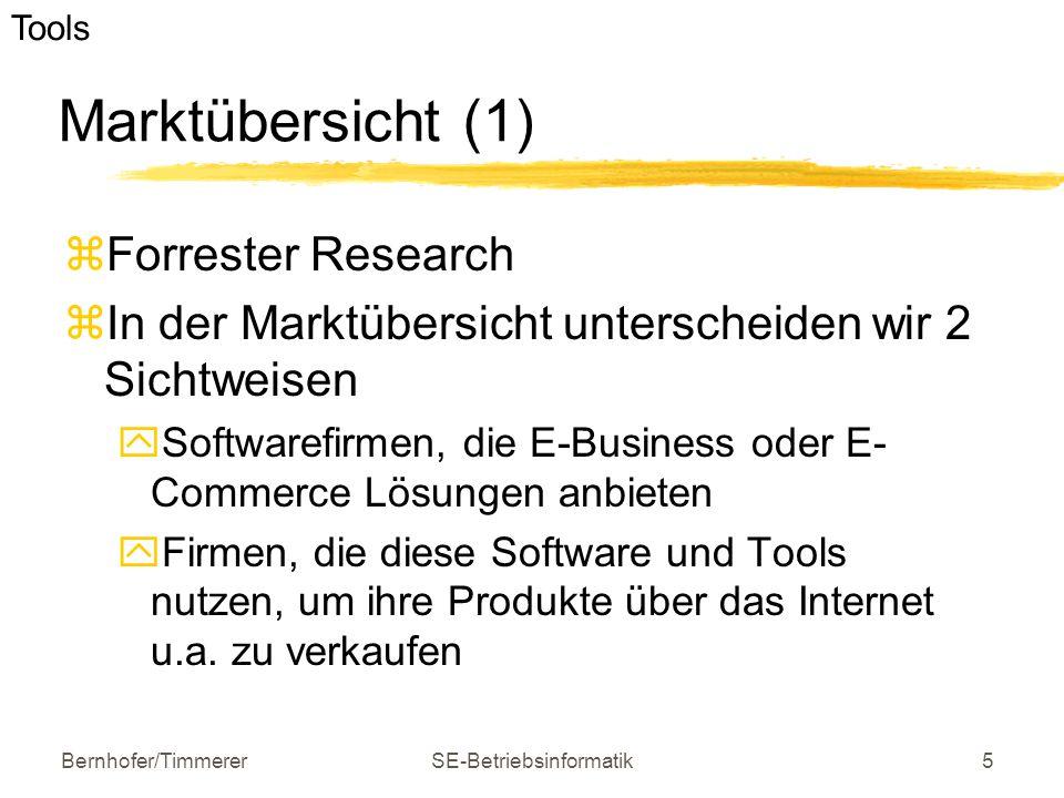 Bernhofer/TimmererSE-Betriebsinformatik6 Marktübersicht (2)  Dilemma von E-Business-Seiten  Leistungsfähiger Applikationsserver und maßgeschneiderte Applikationen  Kriterien für die Auswahl der E-Business- Seiten  aktuelle Marktsituation  Technologiestärke  Plattform-Charakteristika  Clients e-business Software und Tools