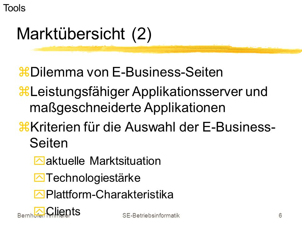 Bernhofer/TimmererSE-Betriebsinformatik17 Auswahlkriterien - Customizing, Administration, Pflege  Flexibilität  Customizing-Tools  Kenntnisse für die Anpassung  Administration  Support, Schulungsmöglichkeiten e-business Software und Tools