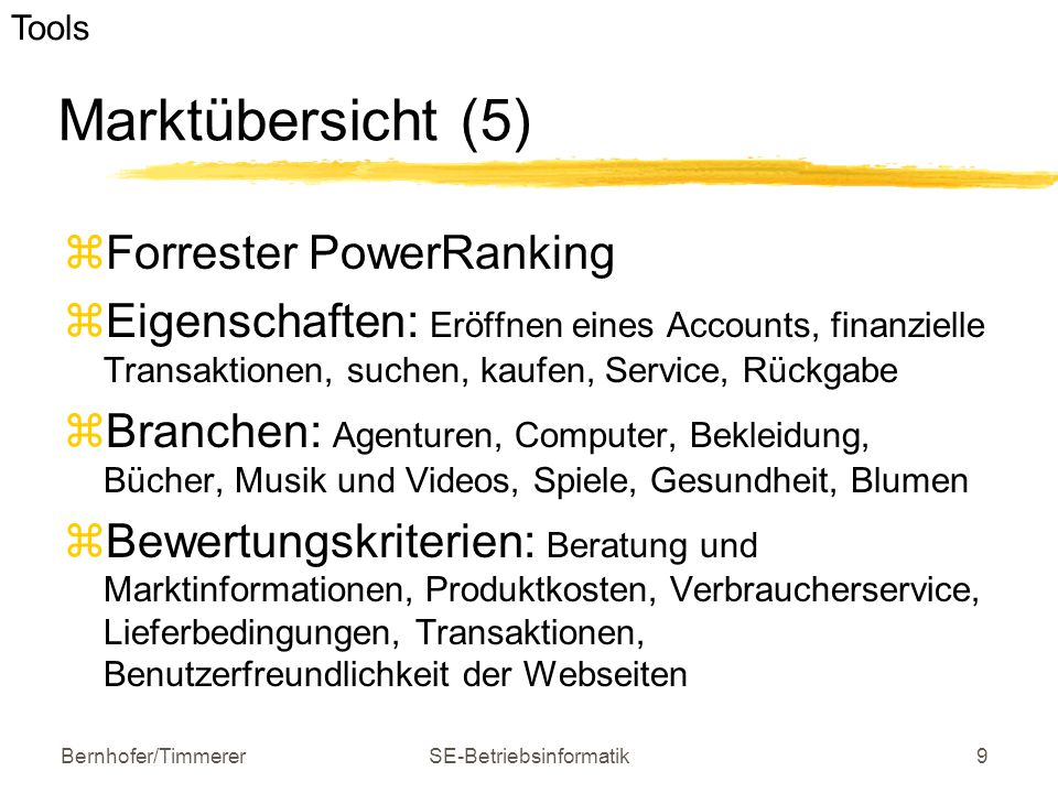 Bernhofer/TimmererSE-Betriebsinformatik9 Marktübersicht (5)  Forrester PowerRanking  Eigenschaften: Eröffnen eines Accounts, finanzielle Transaktion