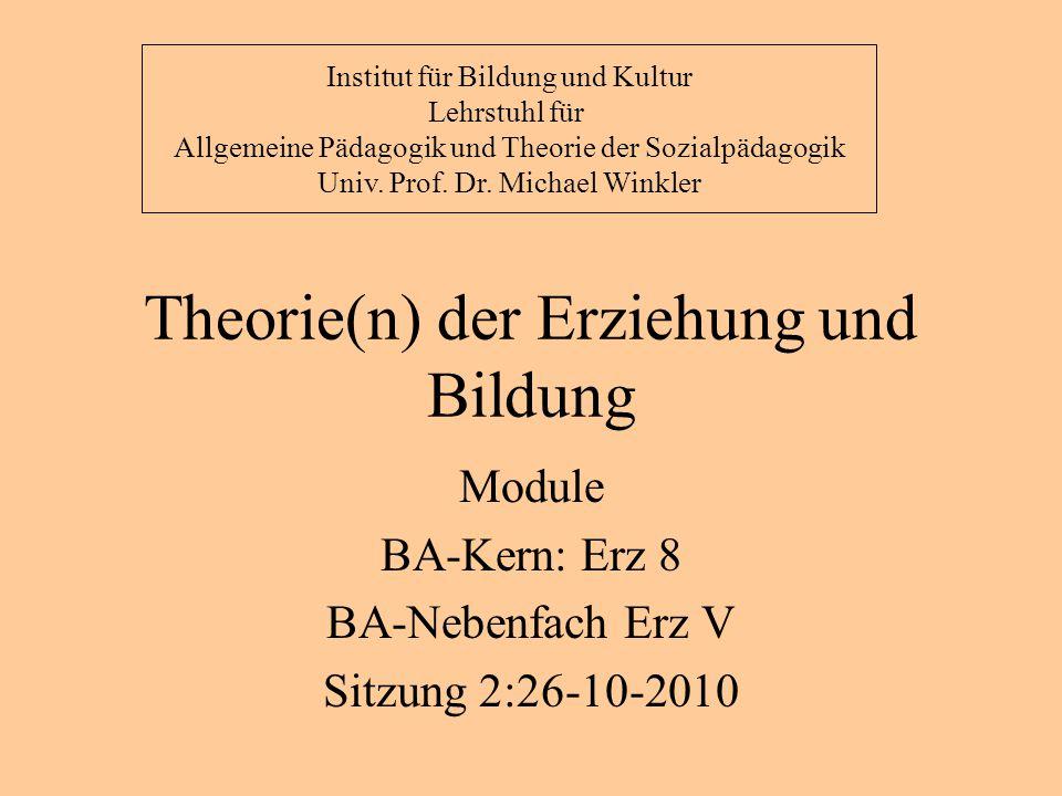 Theorie(n) der Erziehung und Bildung Der pädagogische Mythos 1 oder: Was ist ein Pädagoge?