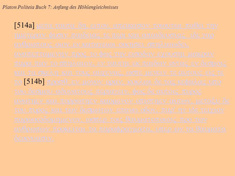 Platon Politeia Buch 7: Anfang des Höhlengleichnisses [514a]        [514b]                       