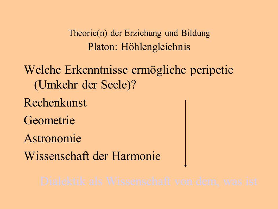 Theorie(n) der Erziehung und Bildung Platon: Höhlengleichnis Welche Erkenntnisse ermögliche peripetie (Umkehr der Seele).
