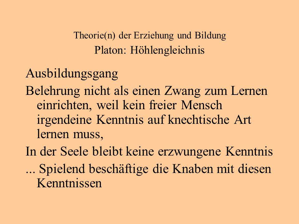 Theorie(n) der Erziehung und Bildung Platon: Höhlengleichnis Ausbildungsgang Belehrung nicht als einen Zwang zum Lernen einrichten, weil kein freier Mensch irgendeine Kenntnis auf knechtische Art lernen muss, In der Seele bleibt keine erzwungene Kenntnis...