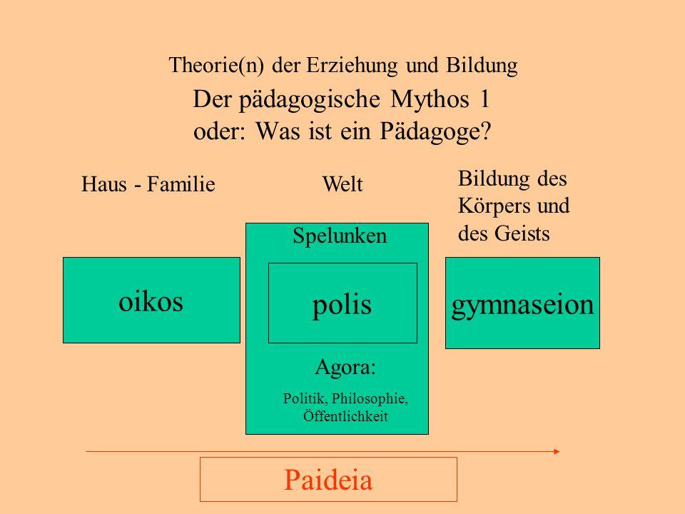 Theorie(n) der Erziehung und Bildung Der pädagogische Mythos 2 oder: Was ist ein Pädagoge?