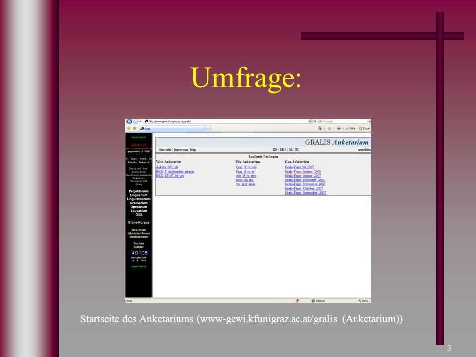 3 Umfrage: Startseite des Anketariums (www-gewi.kfunigraz.ac.at/gralis (Anketarium))