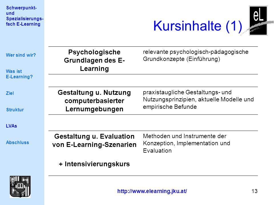 Schwerpunkt- und Spezialisierungs- fach E-Learning http://www.elearning.jku.at/ 13 Kursinhalte (1) Wer sind wir.