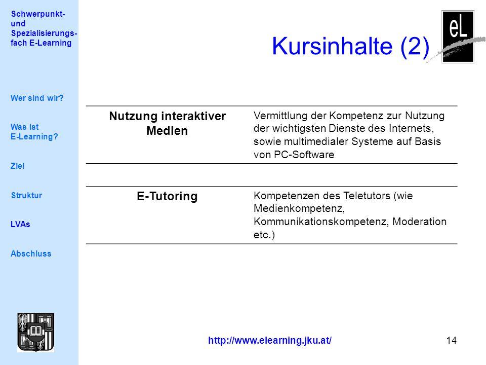 Schwerpunkt- und Spezialisierungs- fach E-Learning http://www.elearning.jku.at/ 14 Kursinhalte (2) Wer sind wir.