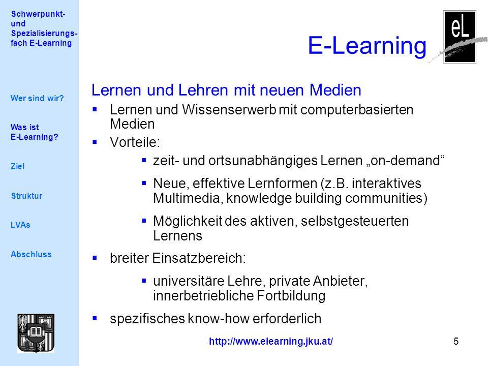Schwerpunkt- und Spezialisierungs- fach E-Learning http://www.elearning.jku.at/ 5 E-Learning Wer sind wir? Was ist E-Learning? Ziel Struktur LVAs Absc