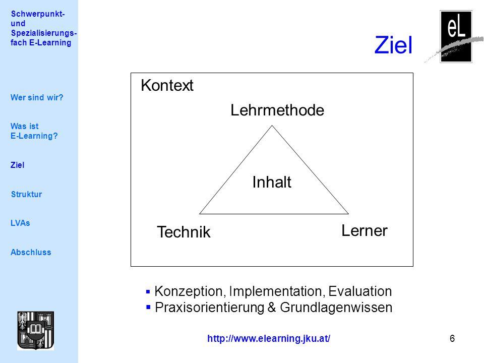 Schwerpunkt- und Spezialisierungs- fach E-Learning http://www.elearning.jku.at/ 6 Ziel Wer sind wir.