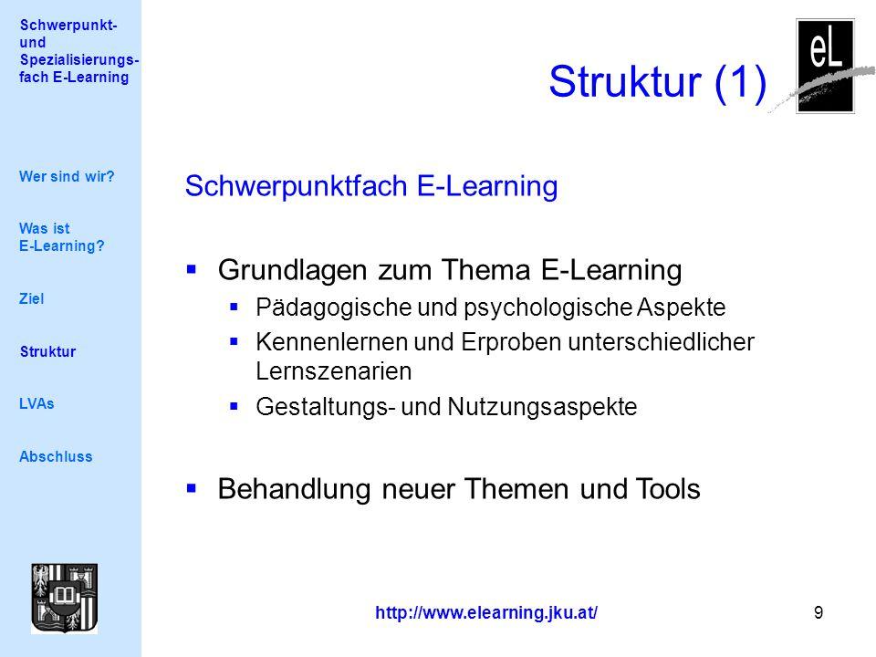 Schwerpunkt- und Spezialisierungs- fach E-Learning http://www.elearning.jku.at/ 9 Struktur (1) Wer sind wir.