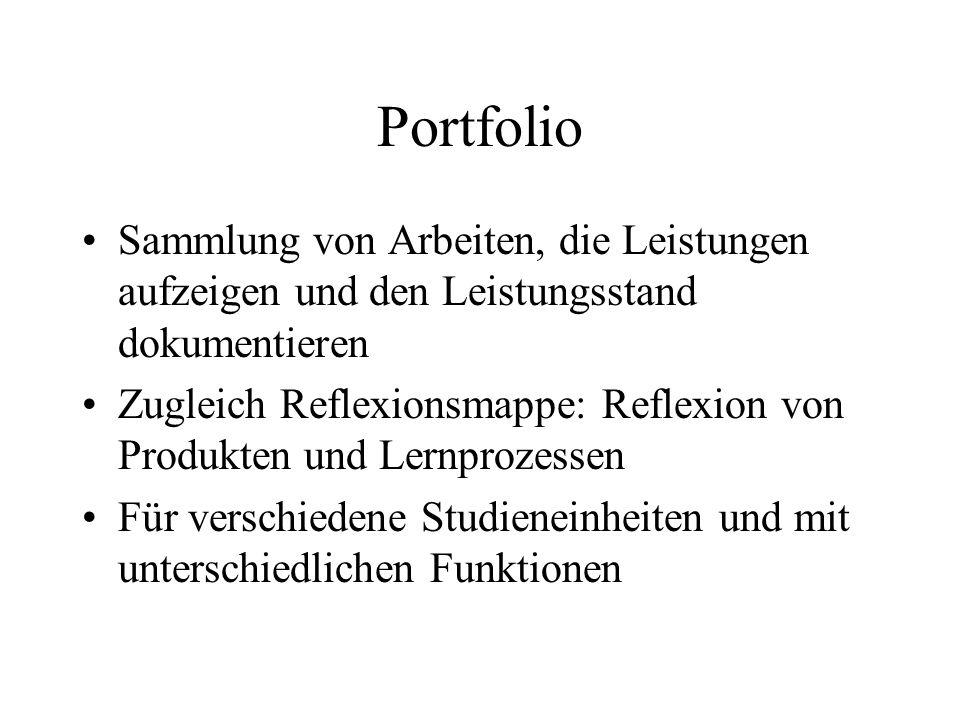 Portfolio Sammlung von Arbeiten, die Leistungen aufzeigen und den Leistungsstand dokumentieren Zugleich Reflexionsmappe: Reflexion von Produkten und Lernprozessen Für verschiedene Studieneinheiten und mit unterschiedlichen Funktionen