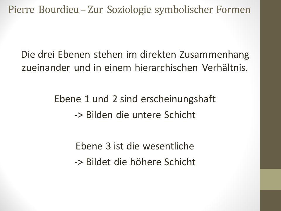 Pierre Bourdieu – Zur Soziologie symbolischer Formen Die drei Ebenen stehen im direkten Zusammenhang zueinander und in einem hierarchischen Verhältnis