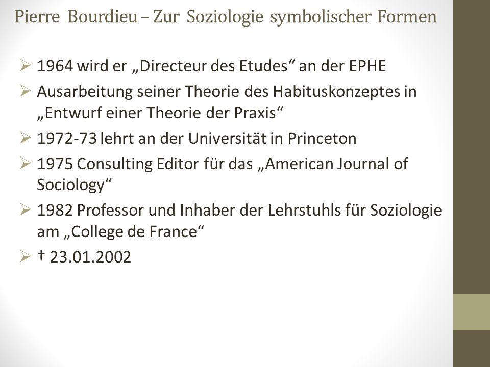 """Pierre Bourdieu – Zur Soziologie symbolischer Formen  1964 wird er """"Directeur des Etudes"""" an der EPHE  Ausarbeitung seiner Theorie des Habituskonzep"""