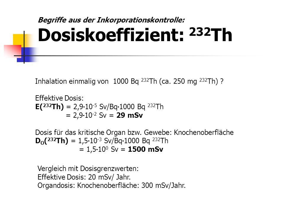 Inhalation einmalig von 1000 Bq 232 Th (ca. 250 mg 232 Th) ? Effektive Dosis: E( 232 Th) = 2,9  10 -5 Sv/Bq  1000 Bq 232 Th = 2,9  10 -2 Sv = 29 mS