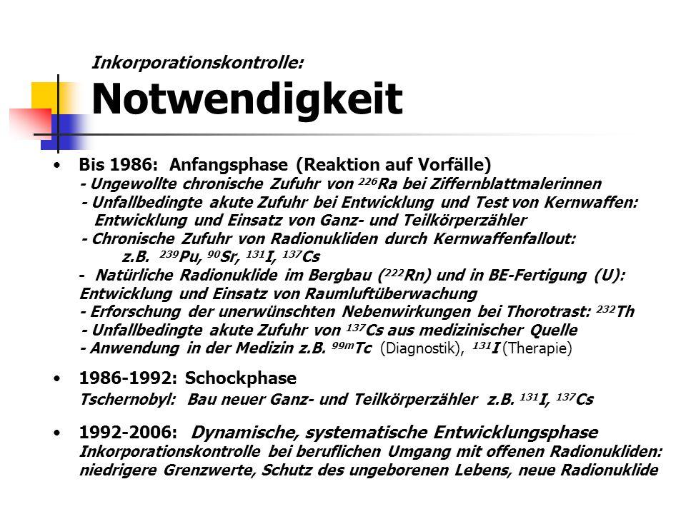 Bis 1986: Anfangsphase (Reaktion auf Vorfälle) - Ungewollte chronische Zufuhr von 226 Ra bei Ziffernblattmalerinnen - Unfallbedingte akute Zufuhr bei