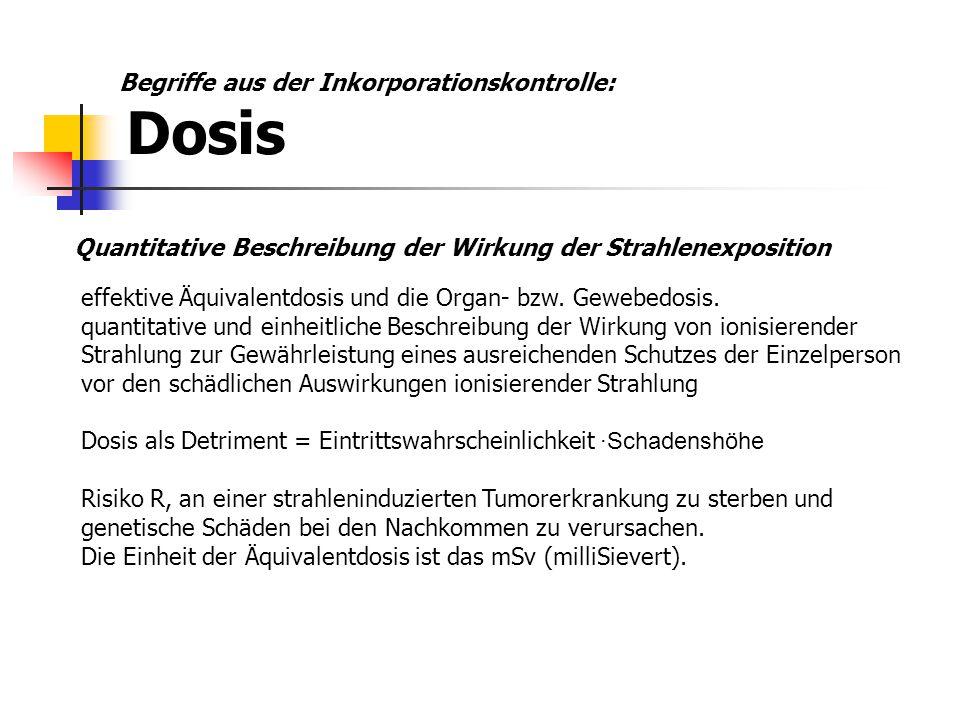 Innere Äquivalentdosis: Folgeäquivalentdosis (committed dose equivalent) Effektive Äquivalentdosis oder Organ- bzw.
