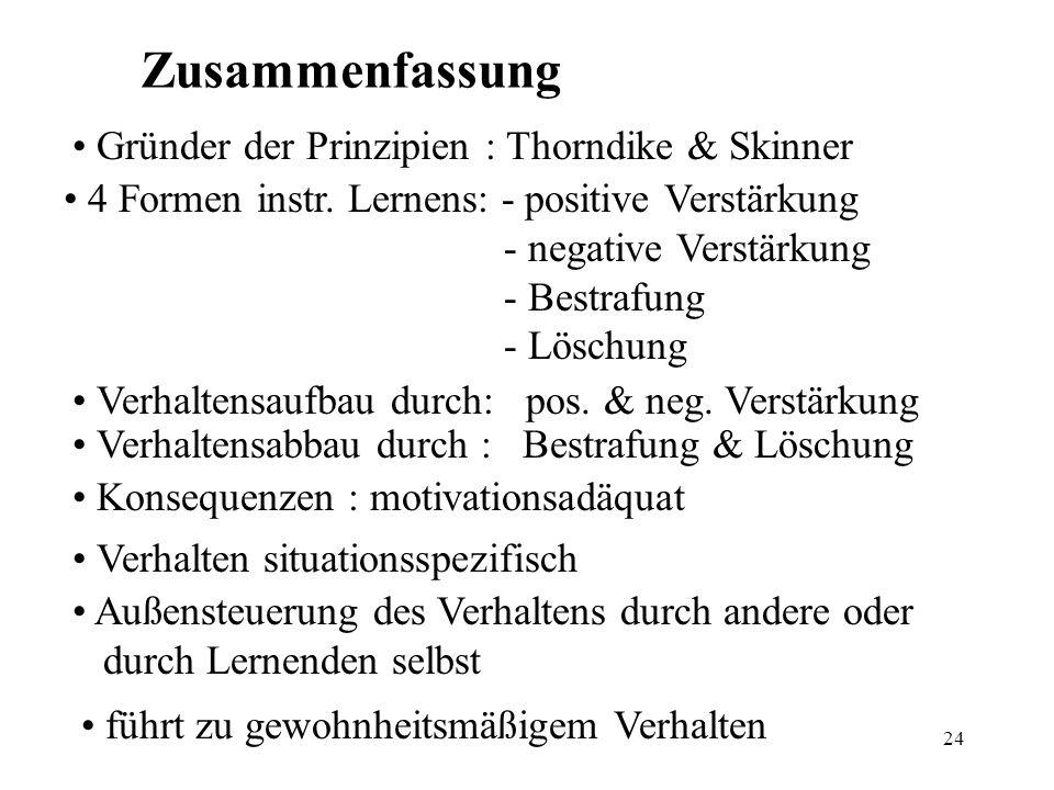24 Zusammenfassung Gründer der Prinzipien : Thorndike & Skinner 4 Formen instr. Lernens: - positive Verstärkung - negative Verstärkung - Bestrafung -