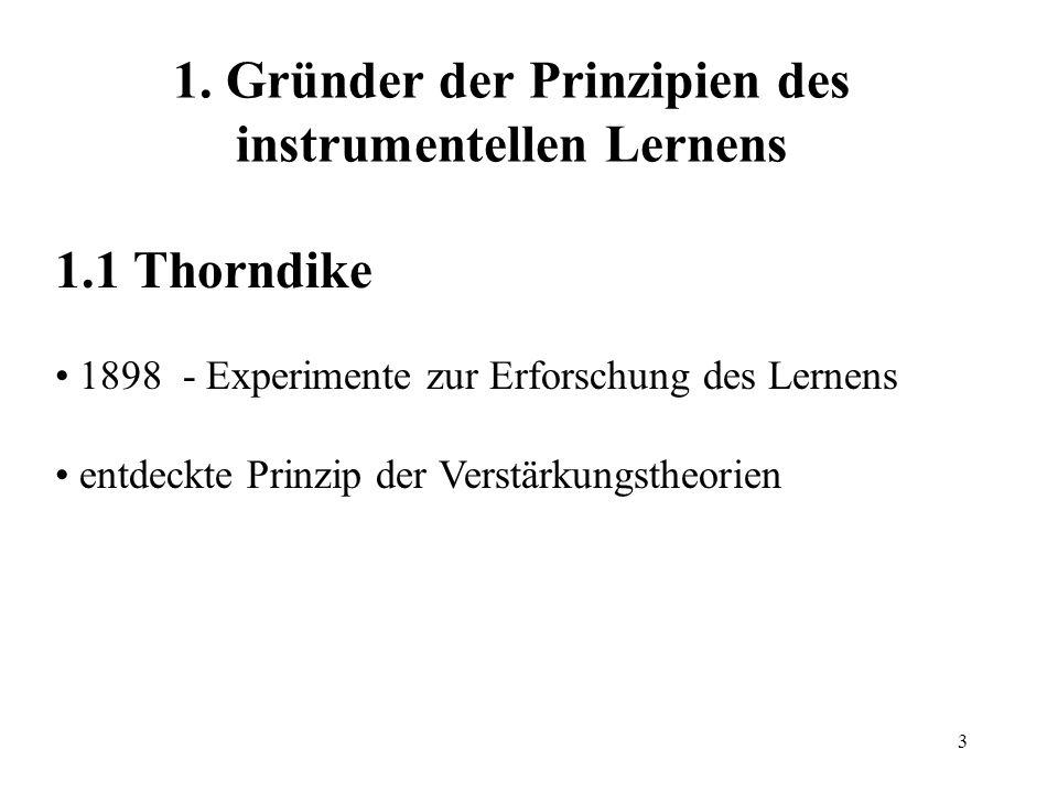 3 1. Gründer der Prinzipien des instrumentellen Lernens 1.1 Thorndike 1898 - Experimente zur Erforschung des Lernens entdeckte Prinzip der Verstärkung