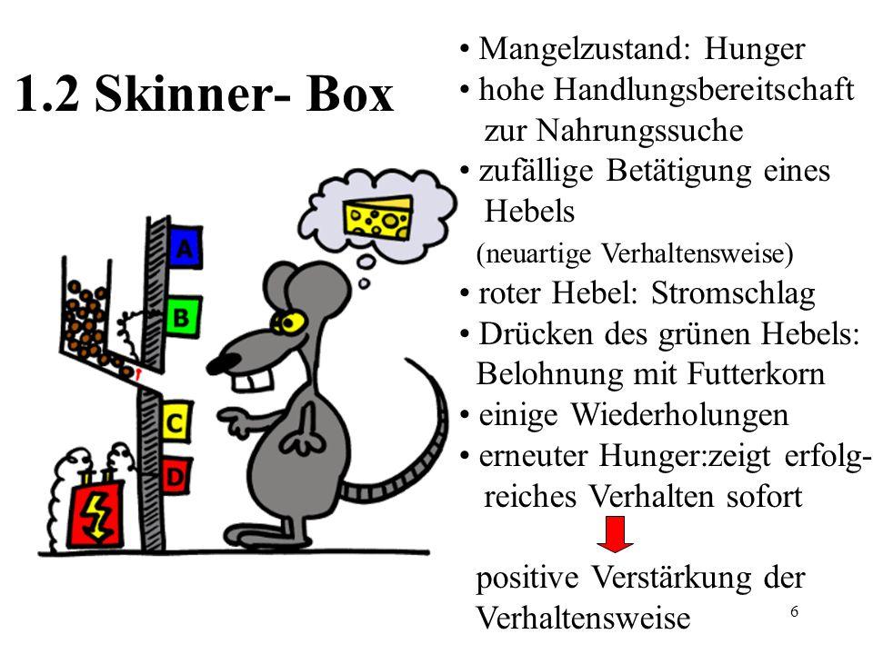 6 1.2 Skinner- Box Mangelzustand: Hunger hohe Handlungsbereitschaft zur Nahrungssuche zufällige Betätigung eines Hebels (neuartige Verhaltensweise) ro