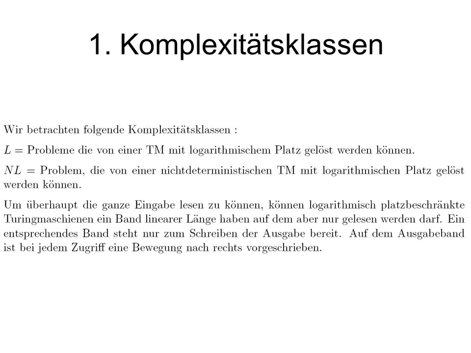 1. Komplexitätsklassen