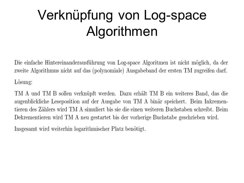 Zusammenhang logarithmischer Zeit und Platz